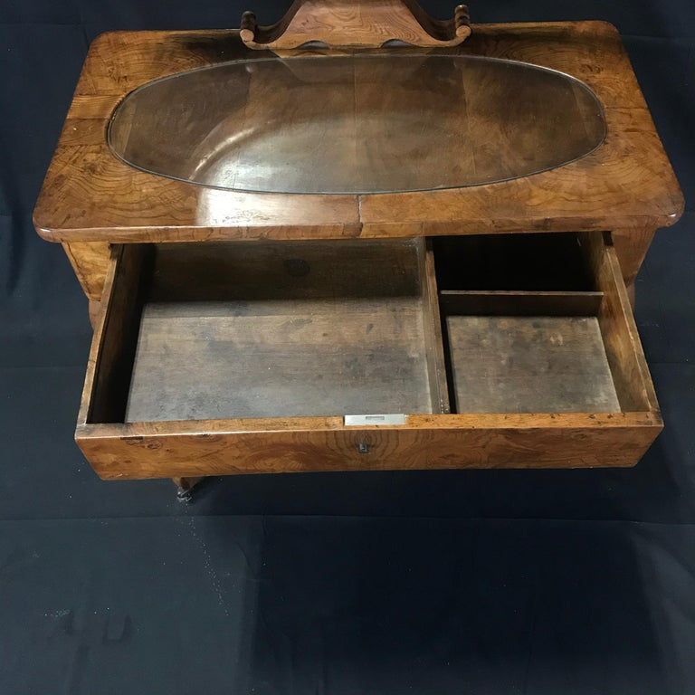French Walnut Dressing Table with Carved Swan Neck Sides For Sale 9