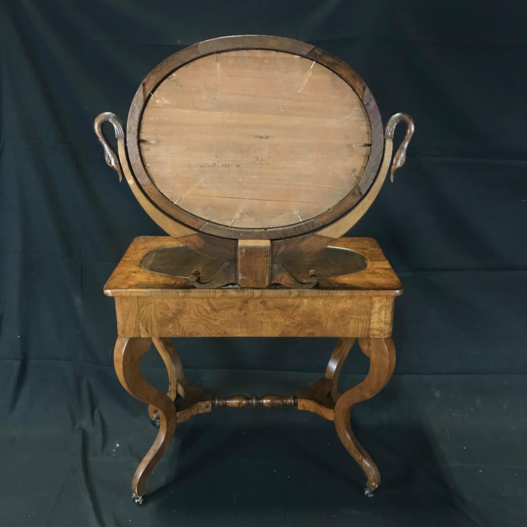 French Walnut Dressing Table with Carved Swan Neck Sides For Sale 11