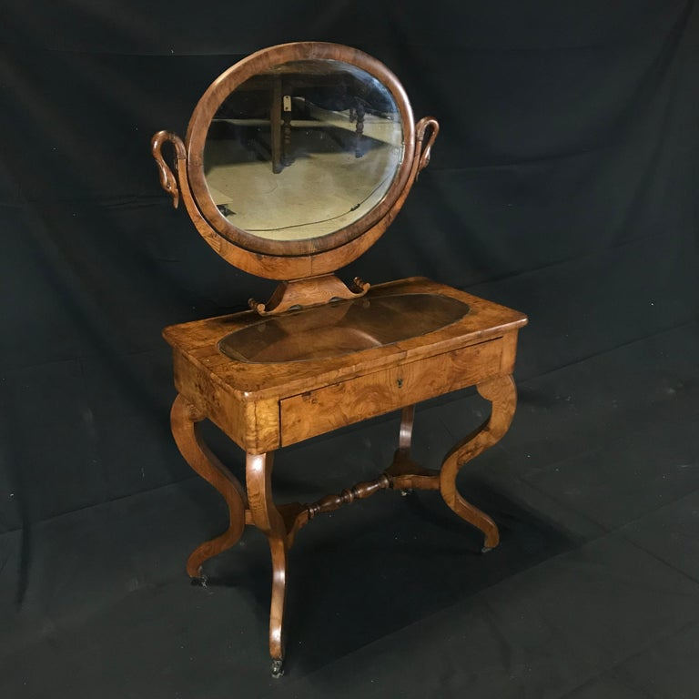 French Walnut Dressing Table with Carved Swan Neck Sides For Sale 12