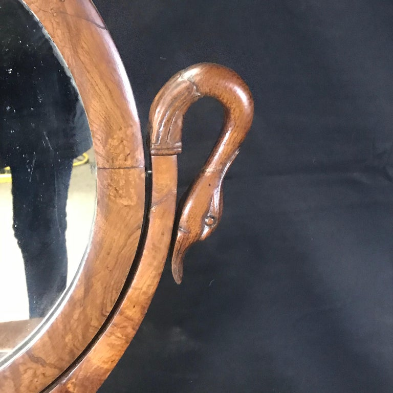 French Walnut Dressing Table with Carved Swan Neck Sides For Sale 2
