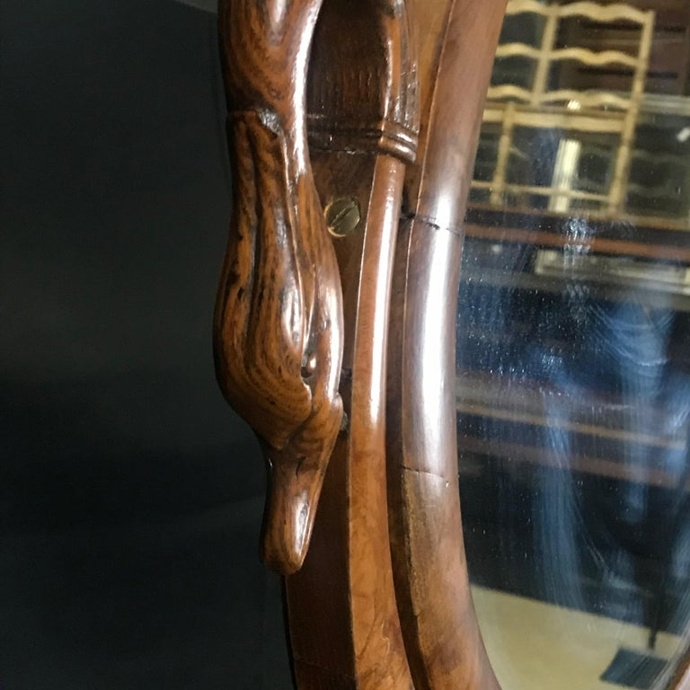 French Walnut Dressing Table with Carved Swan Neck Sides For Sale 4