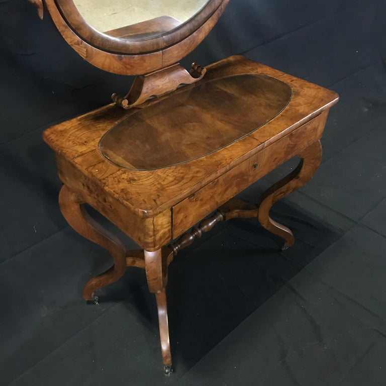French Walnut Dressing Table with Carved Swan Neck Sides For Sale 5
