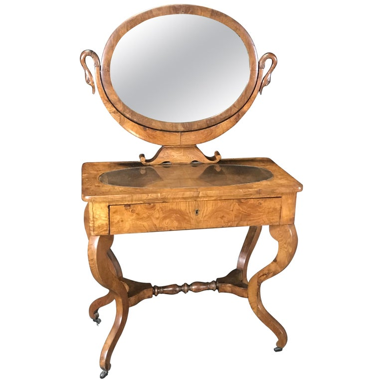 French Walnut Dressing Table with Carved Swan Neck Sides For Sale