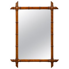 French Walnut Faux Bamboo Rectangular Mirror with Protruding Corners, circa 1900
