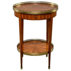 French Walnut Gueridon Brass Gallery and Marquetry
