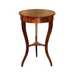 French Walnut Guéridon Table with Single Drawer and Cabriole Legs, circa 1870
