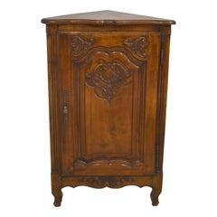 French Walnut Louis XV Petite Corner Cabinet, circa 1900