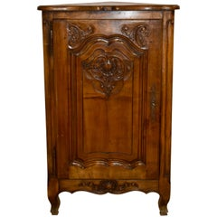 French Walnut Louis XV Petite Corner Cabinet, circa 1900