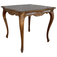 French Walnut Louis XV Style Card Game Table with Large Drawer
