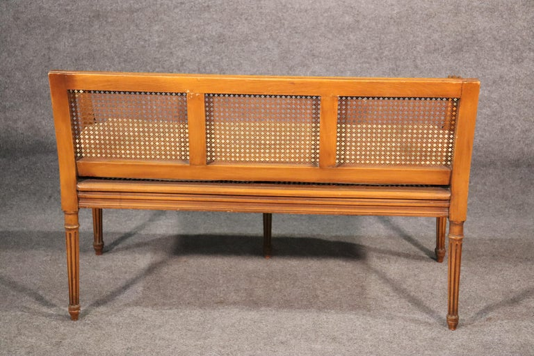 French Walnut Louis XVI Cane Settee Window Bench Canape Goose Down Cushion For Sale 1