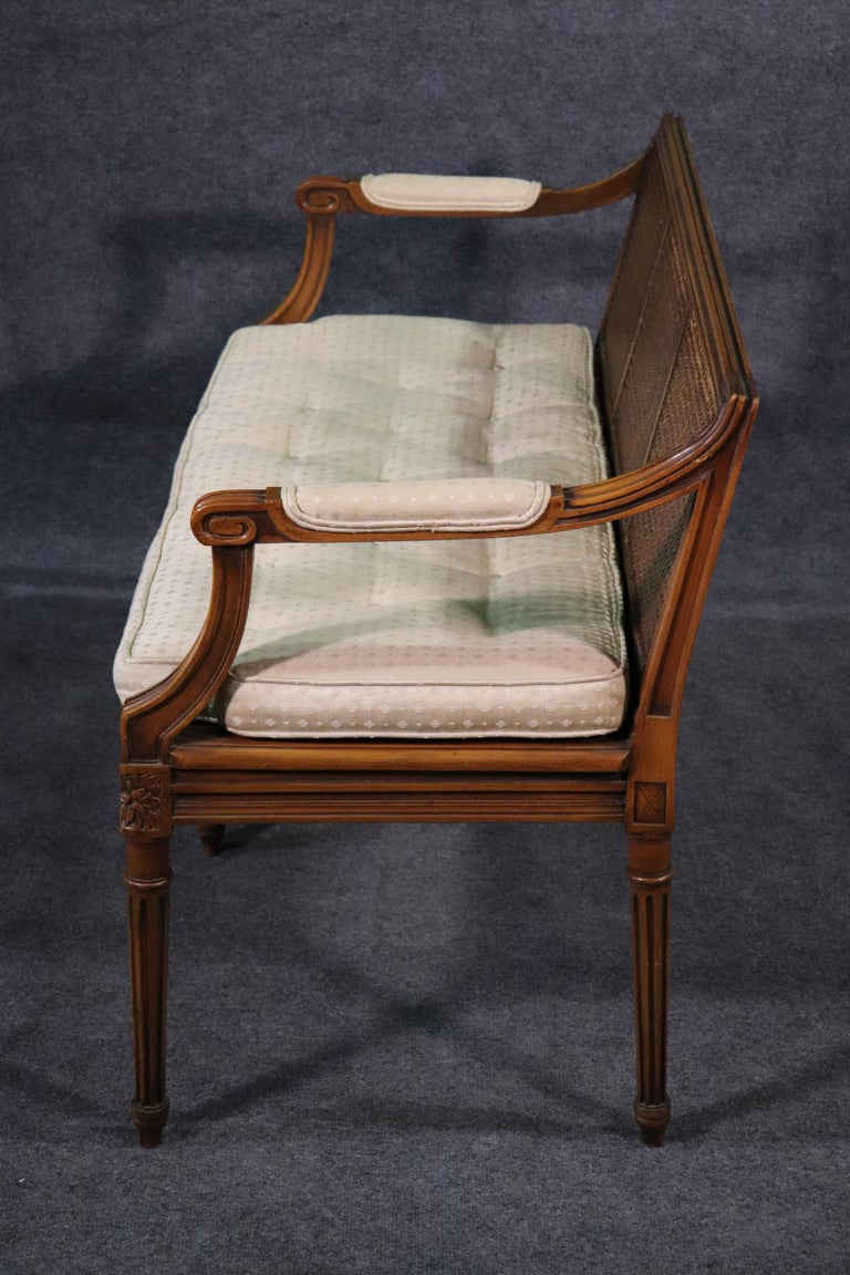 French Walnut Louis XVI Cane Settee Window Bench Canape Goose Down Cushion For Sale 2