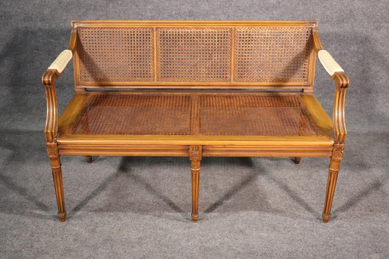 French Walnut Louis XVI Cane Settee Window Bench Canape Goose Down Cushion For Sale 3
