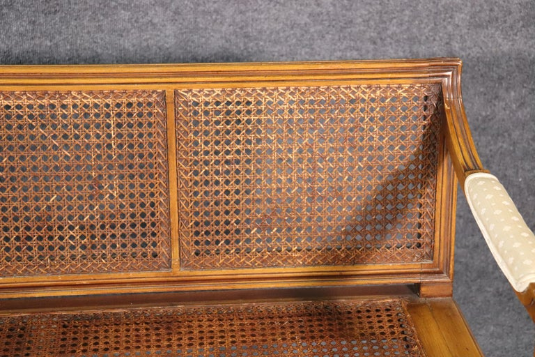 French Walnut Louis XVI Cane Settee Window Bench Canape Goose Down Cushion For Sale 4