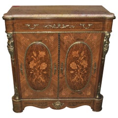 French Walnut Marble-Top Sideboard / Cabinet