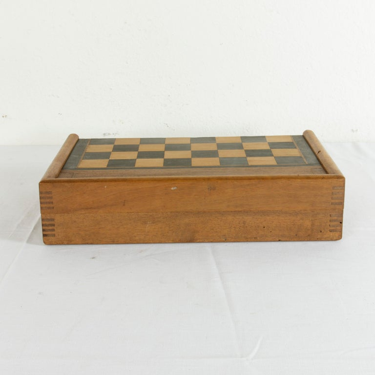French Walnut Marquetry Folding Game Box, with Reverse Side Backgammon, circa 1900 For Sale