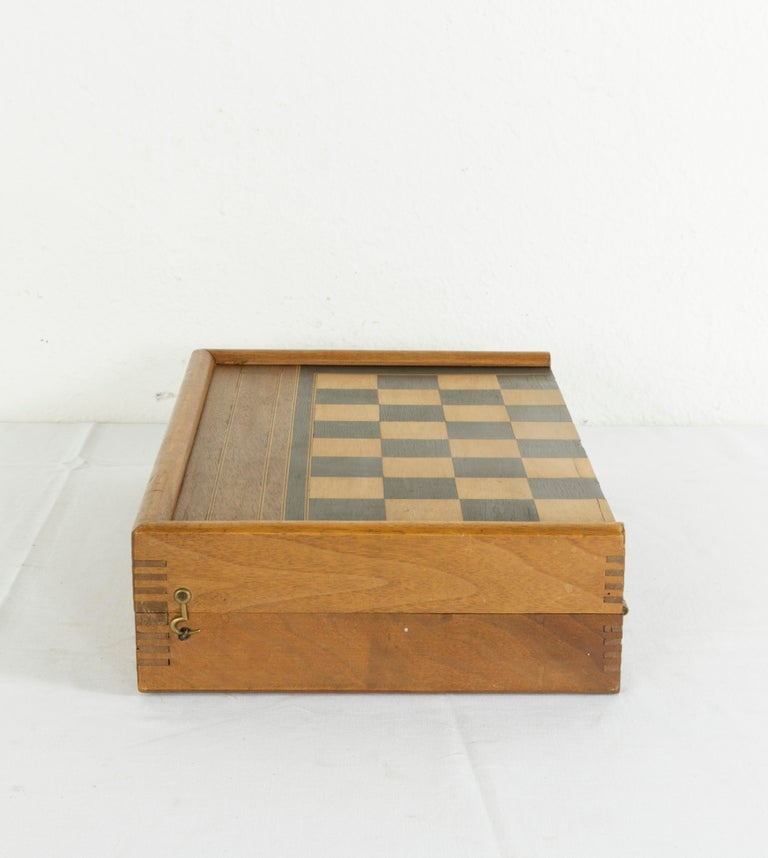 Ebonized Walnut Marquetry Folding Game Box, with Reverse Side Backgammon, circa 1900 For Sale
