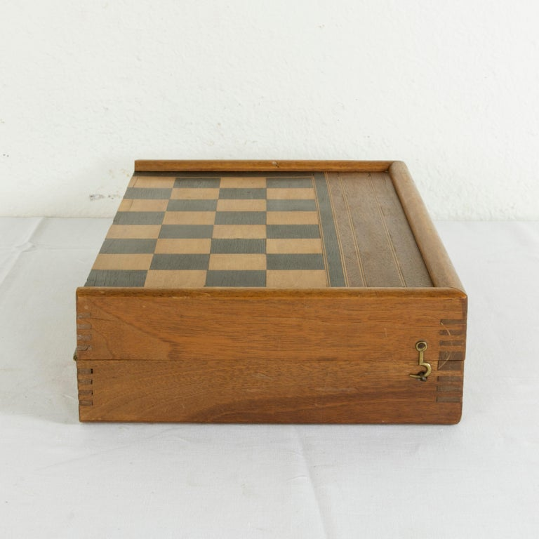 Early 20th Century Walnut Marquetry Folding Game Box, with Reverse Side Backgammon, circa 1900 For Sale