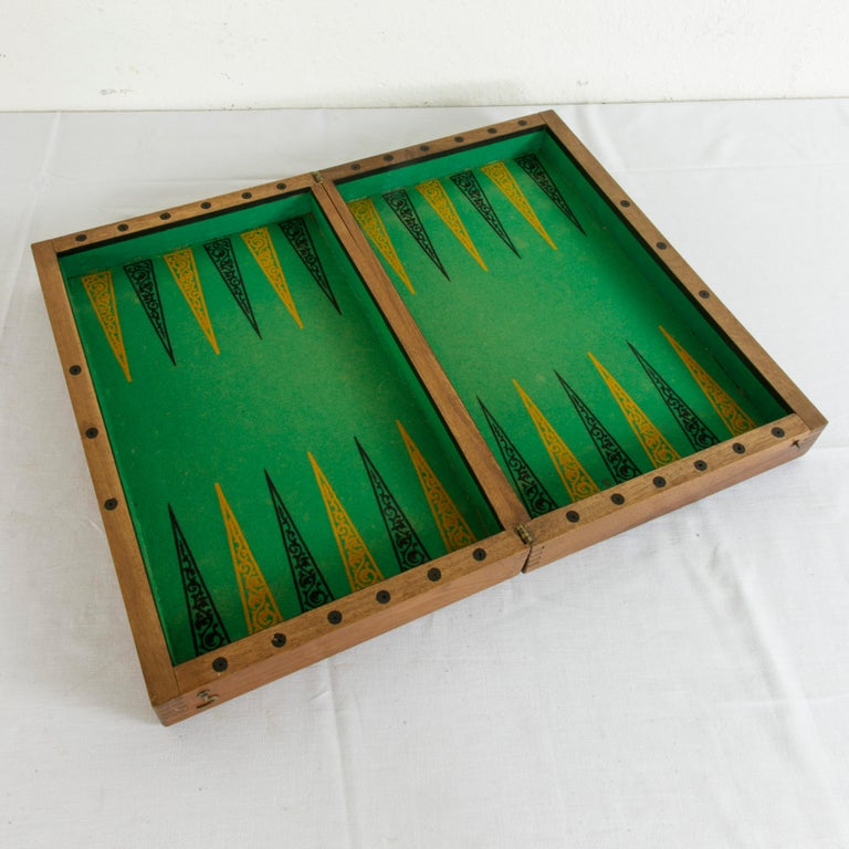 Felt Walnut Marquetry Folding Game Box, with Reverse Side Backgammon, circa 1900 For Sale