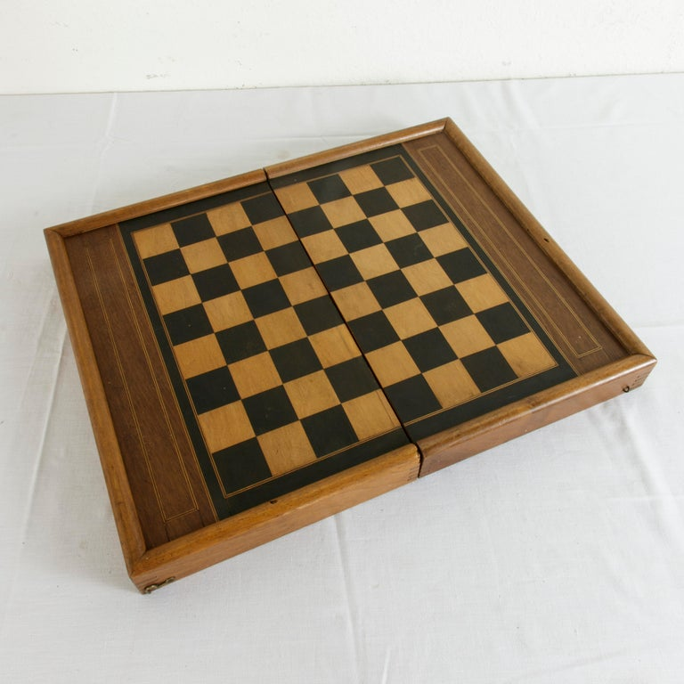 Walnut Marquetry Folding Game Box, with Reverse Side Backgammon, circa 1900 For Sale 2