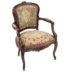 French Walnut Needlework Armchair