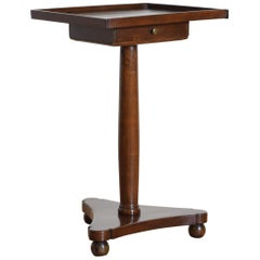 French Walnut Neoclassic Tray Top 1-Drawer Table, 2nd Quarter 19th Century