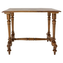 French Walnut Side Table or End Table Turned Legs, circa 1900