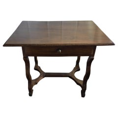 French Walnut Side Table with a Front Drawer, 19th Century