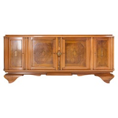 French Walnut Sideboard Credenza Buffet Four Doors Midcentury
