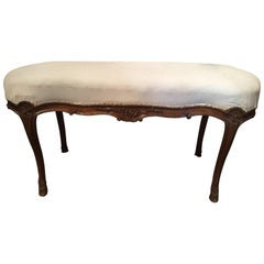 French Walnut Stool with Hoof Feet and Decorative Carvings, 19th Century