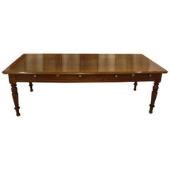 French Walnut Table with Drawers