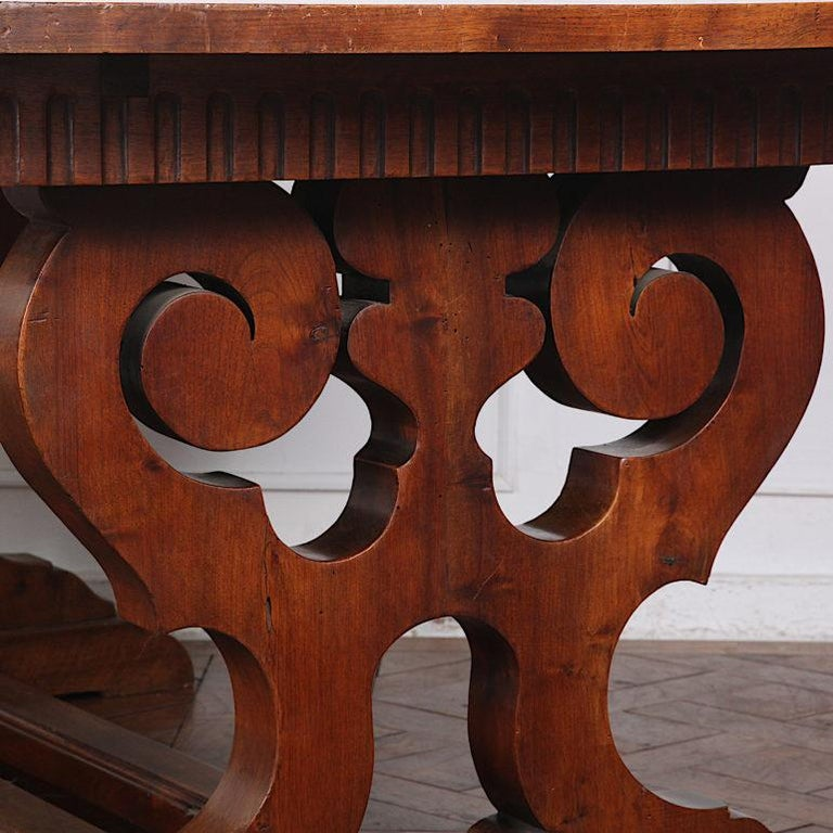 Country French Walnut Trestle Table For Sale
