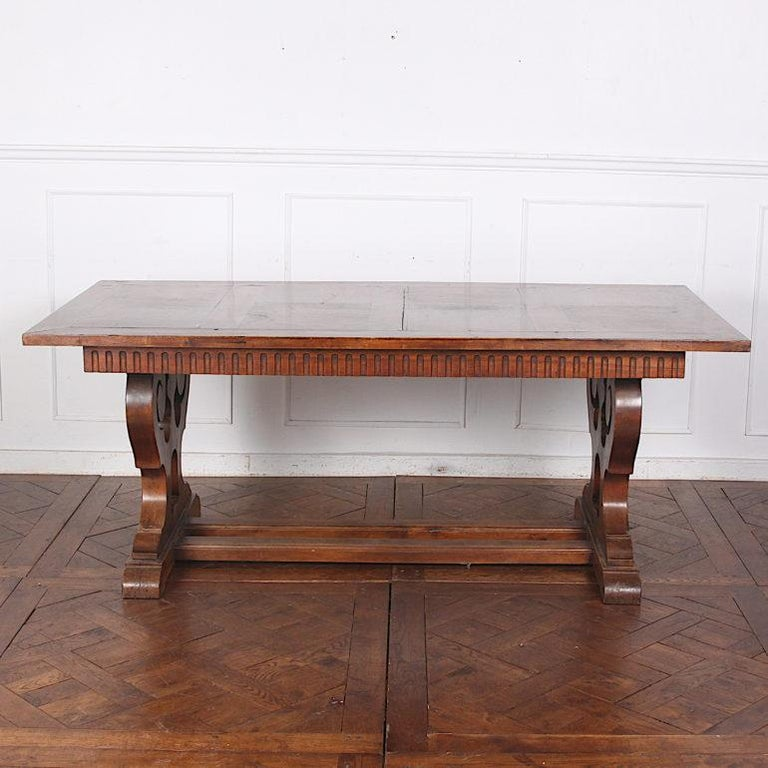 French Walnut Trestle Table In Good Condition For Sale In Vancouver, British Columbia