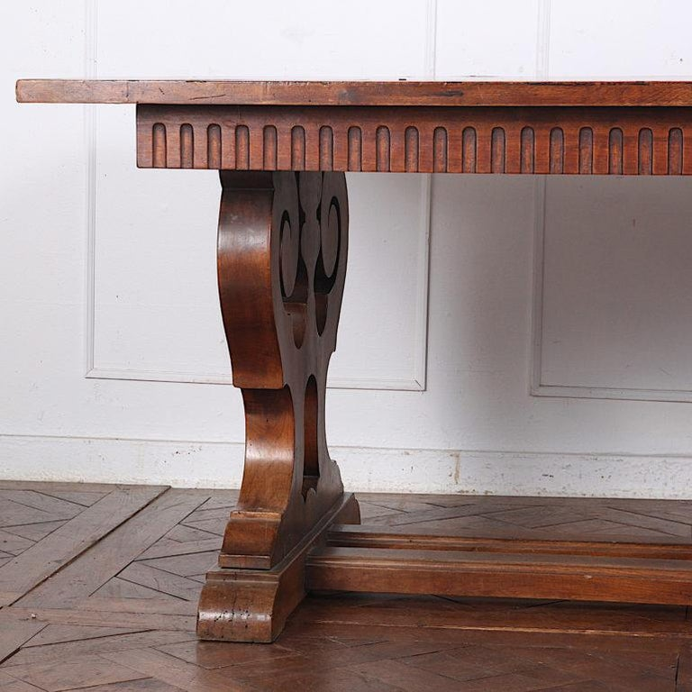 20th Century French Walnut Trestle Table For Sale