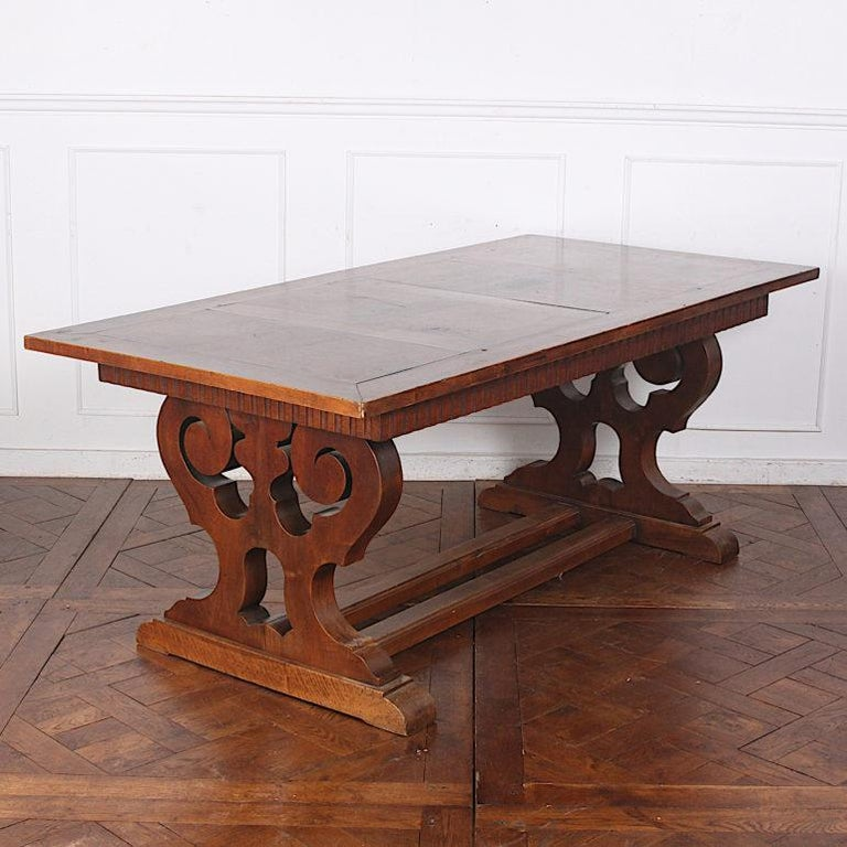 French Walnut Trestle Table For Sale 1