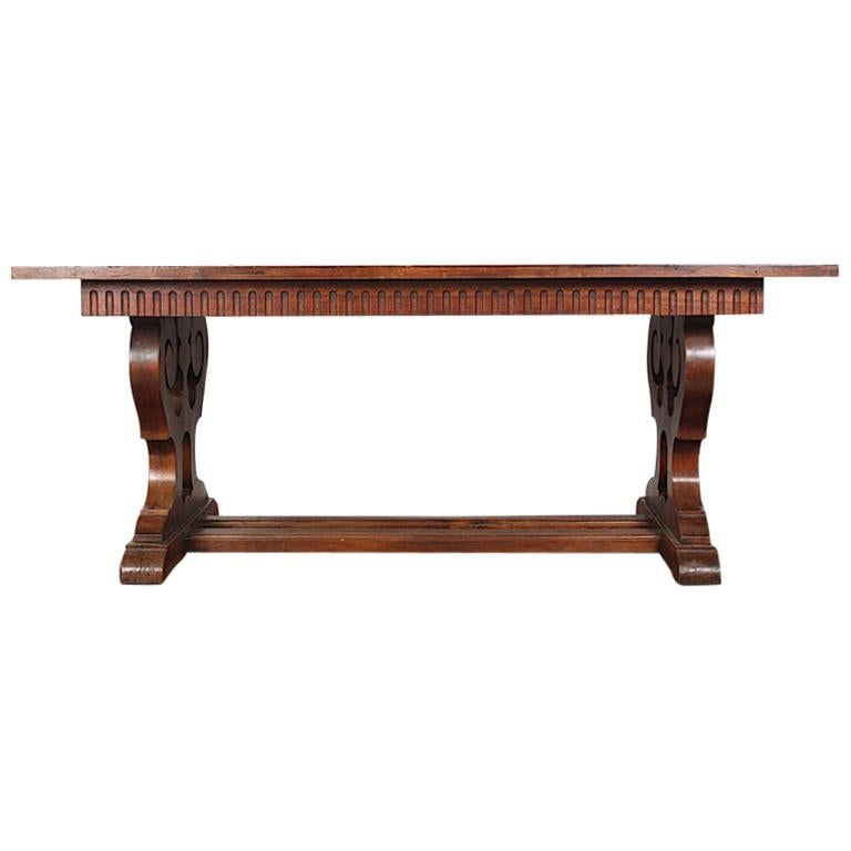 French Walnut Trestle Table For Sale