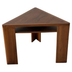 French Walnut Triangle Side Table