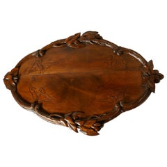 French Walnut Wine Tray Carved with Vine Leaves