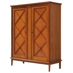 French Wardrobe in Oak with Graphical Decoration