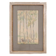French Watercolor of Pastoral Scene