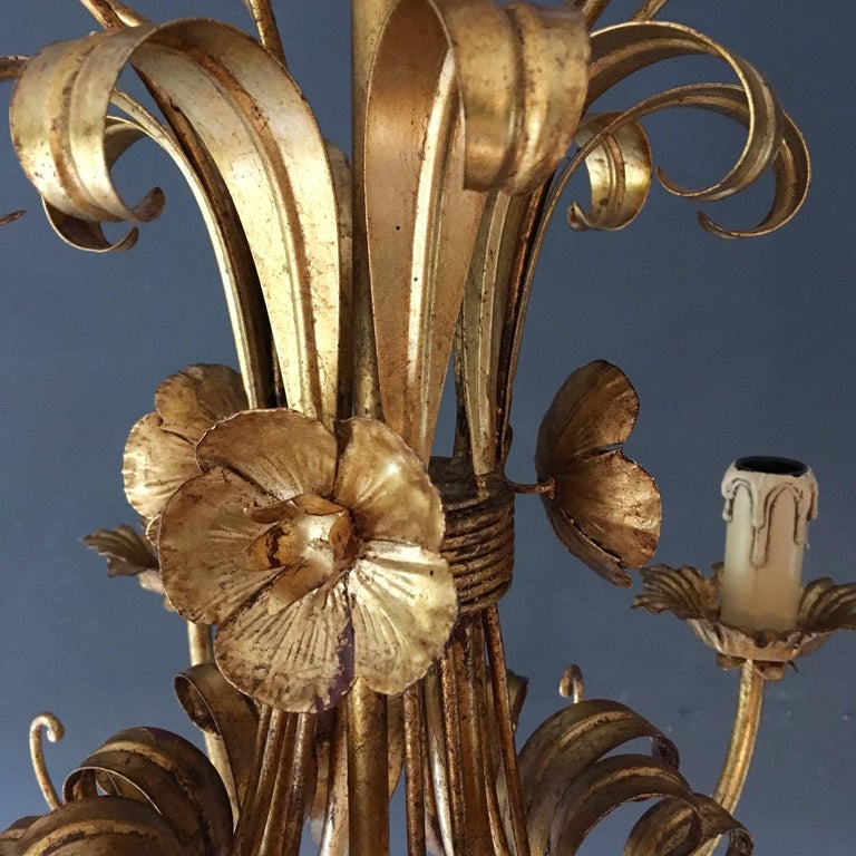 French Wheat Sheaf Crown Chandelier, circa 1950s For Sale 4