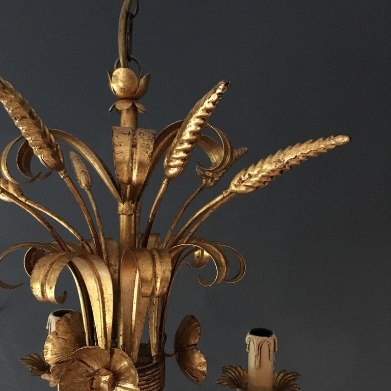 French Wheat Sheaf Crown Chandelier, circa 1950s In Good Condition For Sale In Hastings, GB