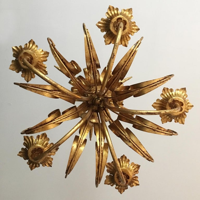 French Wheat Sheaf Crown Chandelier, circa 1950s For Sale 1