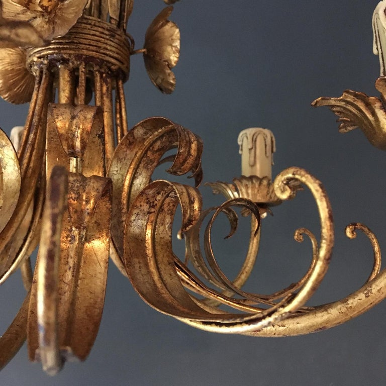 French Wheat Sheaf Crown Chandelier, circa 1950s For Sale 2