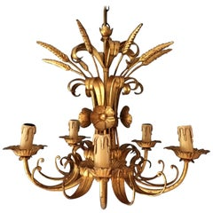 French Wheat Sheaf Crown Chandelier, circa 1950s