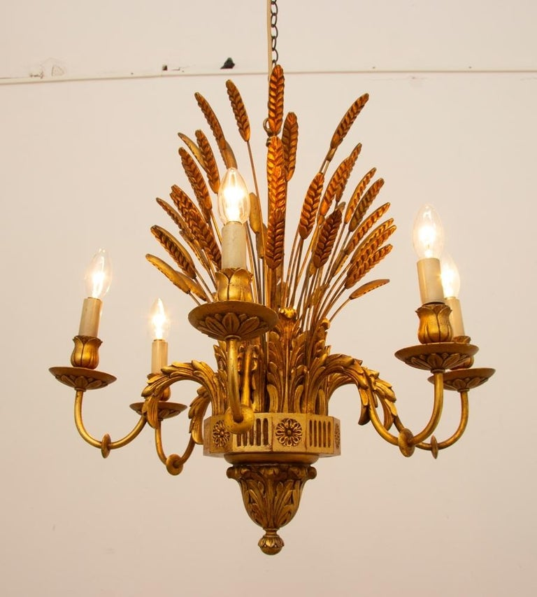 Mid-20th Century French Wheatsheaf Chandelier, circa 1960 For Sale