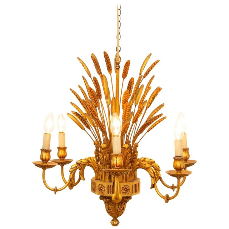 French Wheatsheaf Chandelier, circa 1960 For Sale