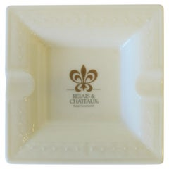 French White and Gold Porcelain Dish or Ashtray