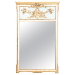 French White Blue and Gold Trumeau Mirror