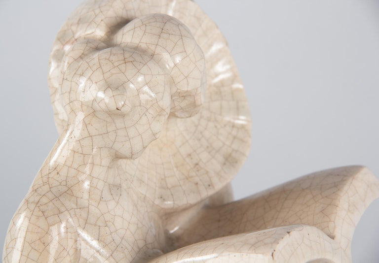 French White Crackled Ceramic Statuette, circa 1930s For Sale 6