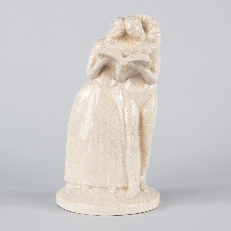 French White Crackled Ceramic Statuette, circa 1930s For Sale 8
